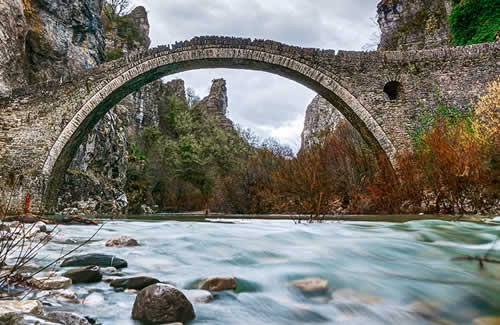 The traditional stone arch bridge of Kokkoris in central Zagori