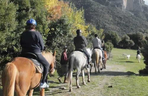 horse back ridding in Papigo under the peaks of Gamila & Astraka of Mt. Tymfi in Zagori