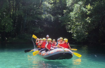 Children rafting in Voidomatis river, Zagori
